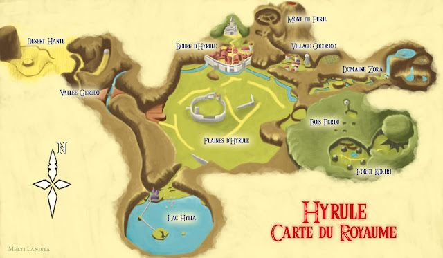 Carte du royaume d'Hyrule. Par Melti Lanista.
