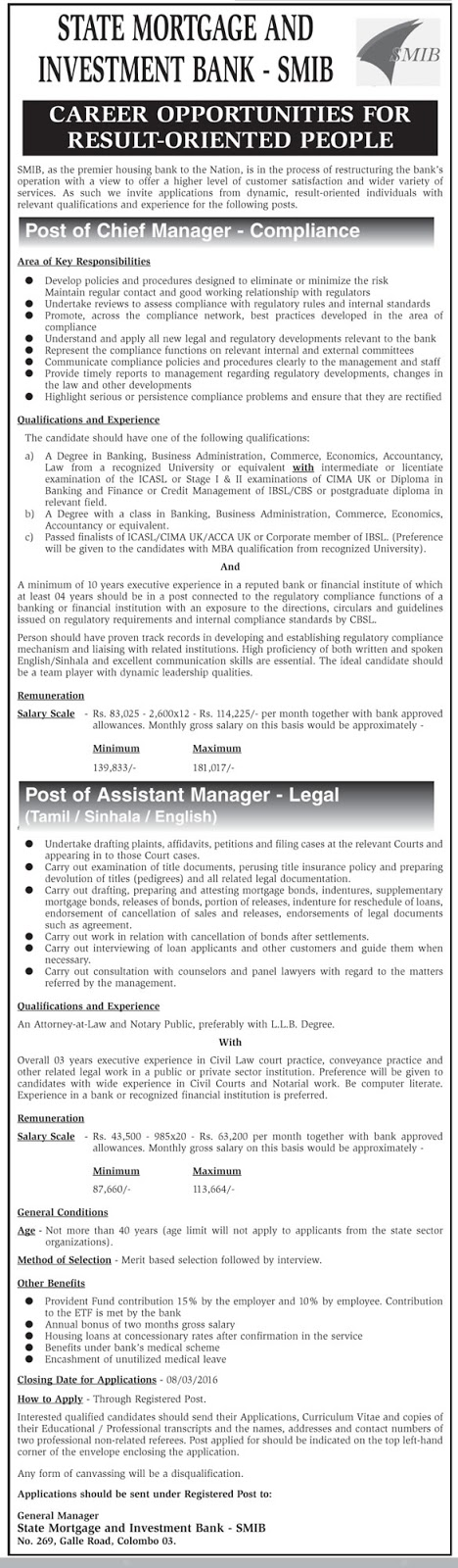 Vacancies - Chief Manager (Compliance), Assistant Manager (Legal – Tamil/sinhala/English) - State Mortgage and Investment Bank –SMIB