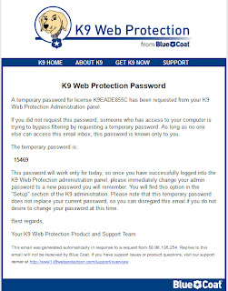 k9 web protection パスワード Password