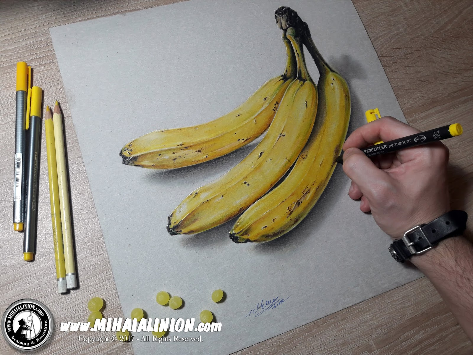 Drawing Bananas, Drawing Fruits, Drawing Yellow Banana, Bananas, fruit illustration, wild bananas, funny bananas, painting bananas, jungle bananas, monkey bananas, How to draw a banana, banana pencil drawing, illustrations by mihai alin ion, MAI Comics, Mihai Alin Ion, art by mihai alin ion, how to draw, artselfie, drawing ideas, free drawing lessons, drawing tutorial, art, dessin, disegno, dibujo, drawing for kids, drawing, illustration, painting, design, realistic 3d art, coloured pencils, www.mihaialinion.com, 2018, pencil drawing, tempera, acrilics paint, marker, gouache painting, mixed media, comics, comic book, caricature, portrait, cum sa desenezi, caricaturi mihai alin ion, caricaturi si portrete  la comanda, eveniment caricaturi, caricaturi la nunta, caricaturi la botez, caricaturi la majorat, desene pe pereti, desene pentru copii, ilustratie carte, benzi desenate, caricaturi, portrete, comanda caricaturi