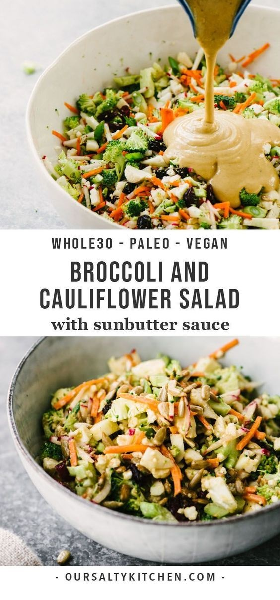 Broccoli And Cauliflower Salad With Sunbutter