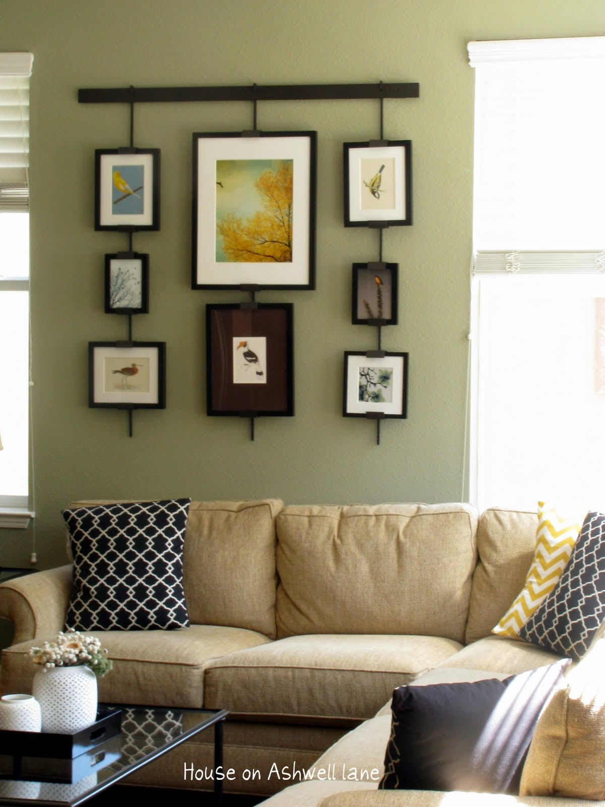 House on ashwell lane family room art gallery wall - Family room wall decor ideas ...