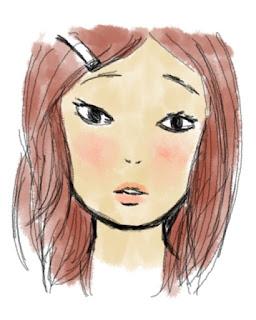 digital art of blushing girl