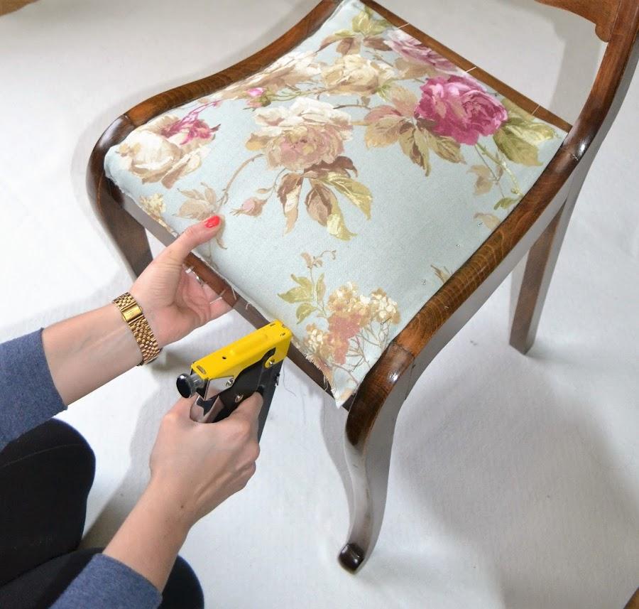 Diy tapizamos una silla bricolaje - Telas tapiceria sillas ...