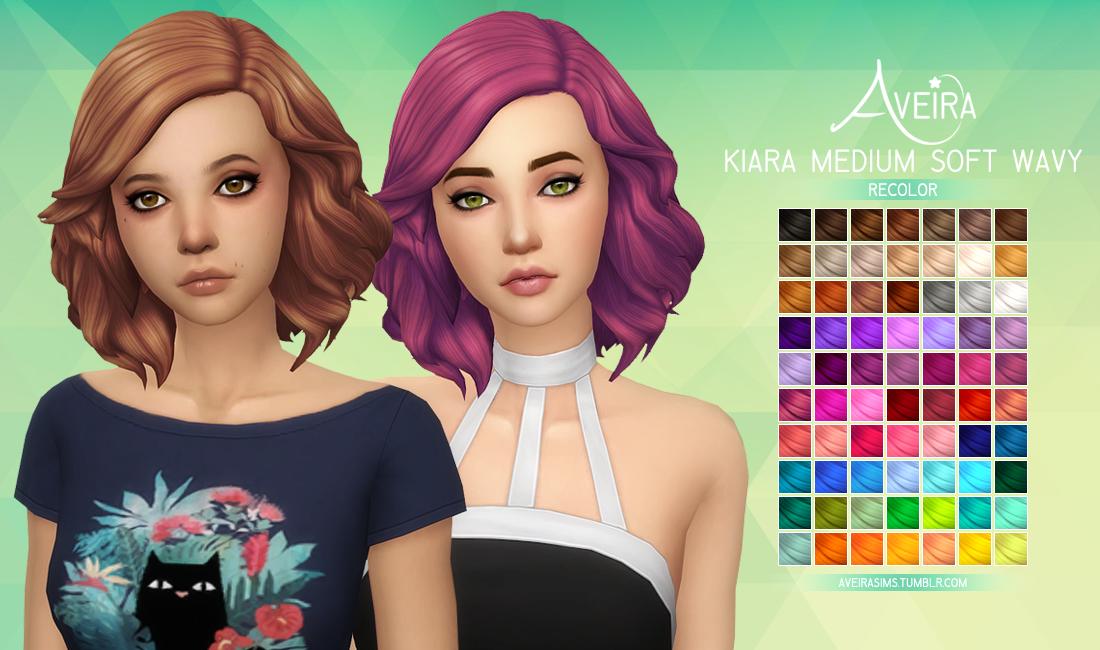 My Sims 4 Blog Medium Soft Wavy Hair In 70 Recolors By Aveirasims