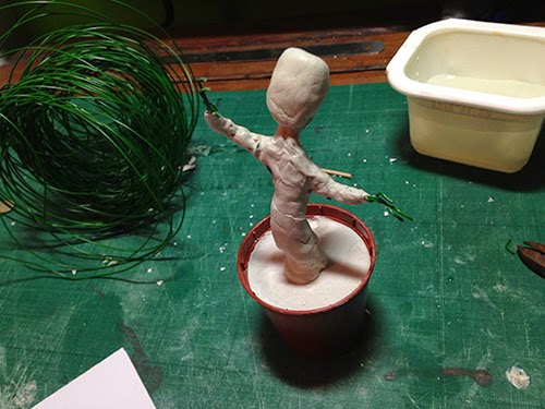 Groot being roughed in with clay