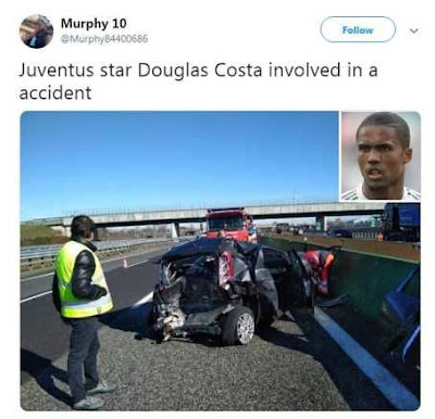 Juventus Winger Douglas Costa Involved In a Terrible Car Accident (Photos)