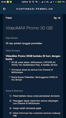 Promo Paket Videomax 30GB Telkomsel Rp10