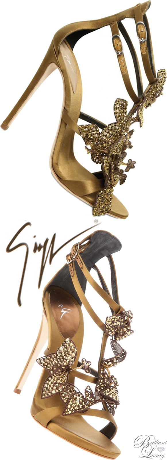 Brilliant Luxury ♦ Giuseppe Zanotti Gold Silk Crystal Sandal