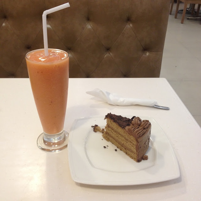 Watermelon cooler and mocha supreme cake at Butterbean Desserts and Café in Cebu City Philippines