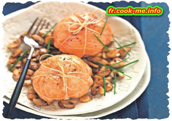 Paupiettes de saumon aux champignons