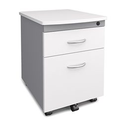 White Desk Side Stationary Pedestal