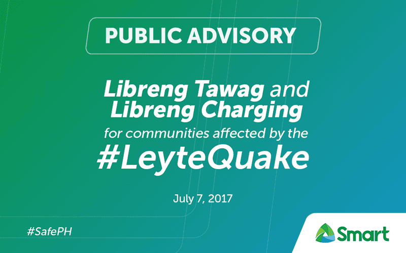 Smart Announces FREE Charging And Calls For Leyte Quake Victims