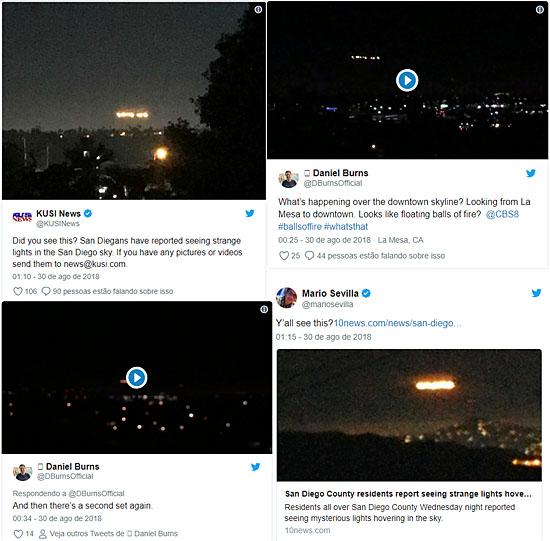 Luzes misteriosas filmadas sobre cidade nos EUA se espalham na internet - Tweets