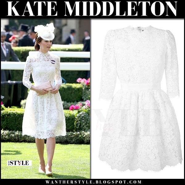 Kate Middleton in white lace dress alexander mcqueen at the Royal Ascot what she wore june 20 2017