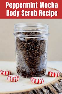 This homemade peppermint scrub recipe is great for your body.  A chocolate peppermint sugar scrub like this smells amazing!  This makes a great peppermint hand scrub diy or peppermint sugar scrub homemade for your body.  This sugar scrub peppermint makes a great gift, or make this homemade peppermint sugar scrub for yourself.  Along with coffee, this chocolate peppermint sugar scrub naturally exfoliates your skin for better looking skin.  #bodyscrub #scrub #sugarscrub #diy #peppermint #mocha #coffee #peppermintscrub #mochascrub #coffeescrub