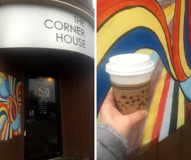 Sipping on locally roasted Tugboat Coffee at The Corner House in Lombard, Illinois