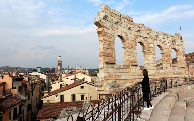 Vistas de Verona desde el anfiteatro romano del Arena