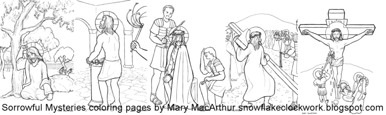 Snowflake Clockwork: Rosary Mysteries coloring pages