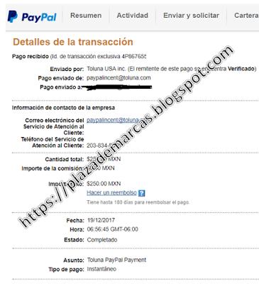 Comprobante de pago recibido gracias a Toluna