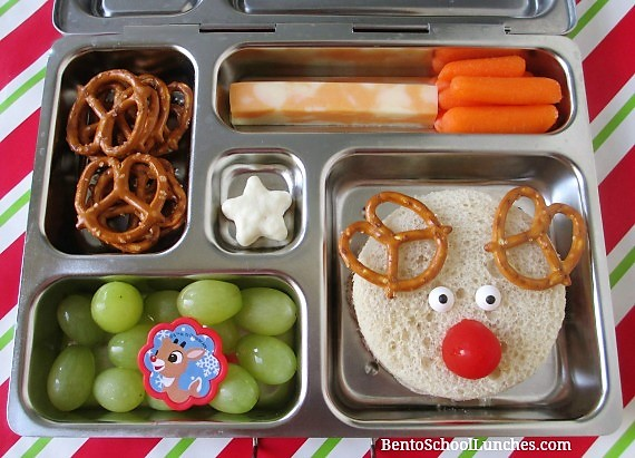 Rudolph The Red Nosed Reindeer Lunch. Made with a circle cookie cutter.