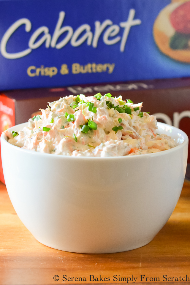 Dill Smoked Salmon Dip is so easy to make in under 10 minutes! serenabakessimplyfromscratch.com