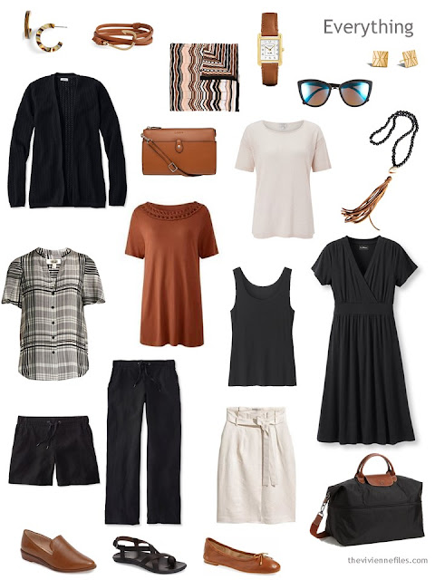 warm weather travel capsule wardrobe in black, ivory and brown