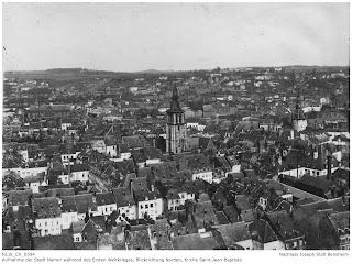Namur 1914-1918, Blick von der Festung in Richtung Norden, Kirche Saint Jean Baptiste; Nachlass Joseph Stoll Bensheim, Stoll-Berberich 2016