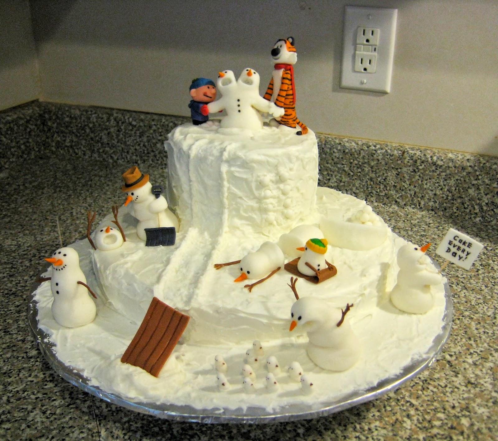 My Cake Corner Calvin And Hobbes Snowman Cake April 2013