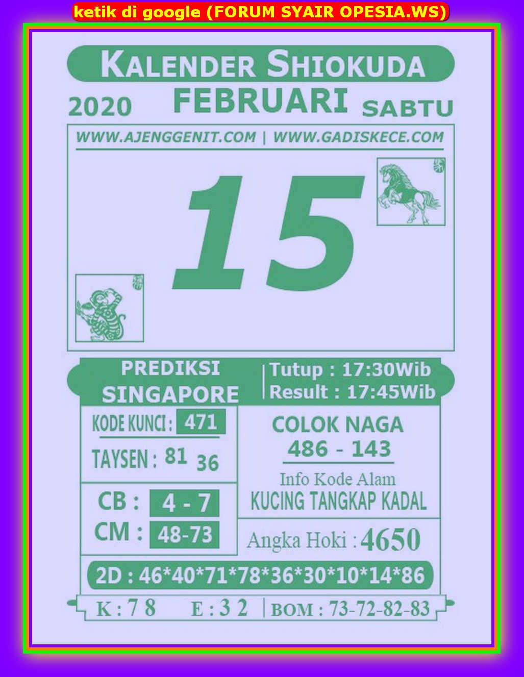 Kode syair Singapore Sabtu 15 Februari 2020 98