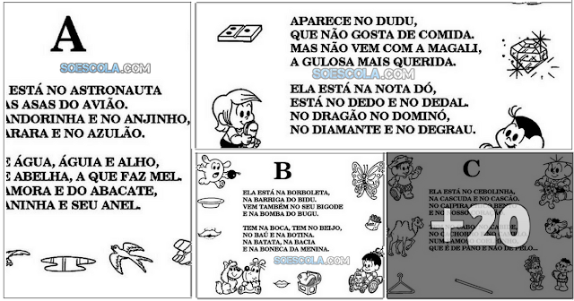 Turma de Mônica: Alfabeto com textos um pra cada letra