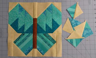 Aquamarine butterfly quilt block