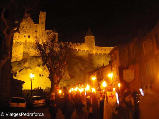 Cité de Carcasssonne de nit, Aude, País Càtar, França, Ciutats medievals emmurallades