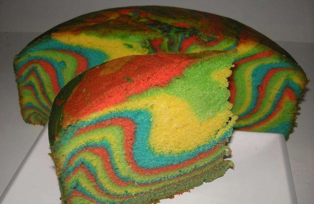 resepi kek marble pelangi  gebu  mudah blogopsi Resepi Kek Guna Gelatin Enak dan Mudah