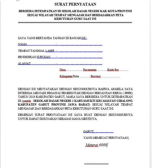 Contoh Surat Pernyataan Pppk P3k Bersedia Ditempatkan Di