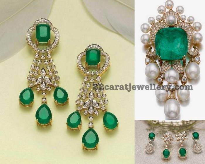 emerald pendant by tanishq jewellery designs