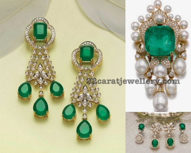 Emerald Diamond Pendant by Tanishq