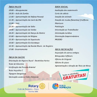 Secretaria Municipal de Saúde estará presente no Rotary Day, neste sábado 30/3