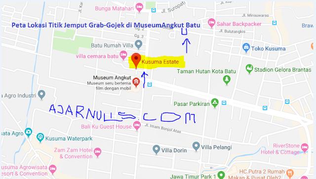 Peta Lokasi Titik Jemput Penumpang Ojek Online Grab-Gojek di Museum Angkut Batu-Malang
