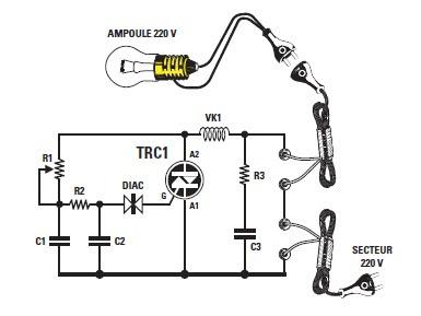Schema et montage d 39 un variateur simple pour lampe 220 schema electronique et schema - Variateur de lumiere halogene ...