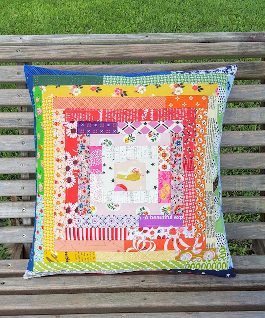 Rainbow Patchwork Pillow Cover by Heidi Staples of Fabric Mutt