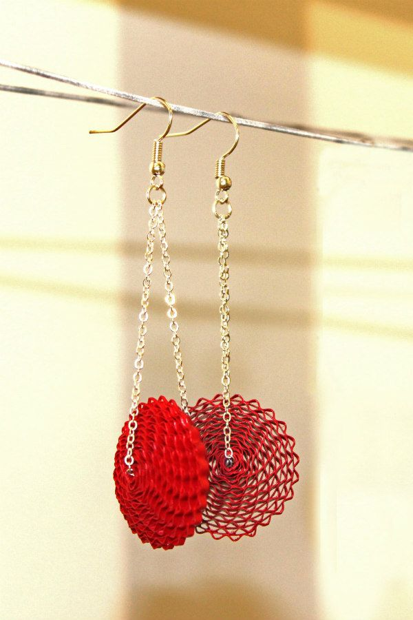 red corrugated paper drop earrings with silver chains