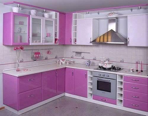 Contoh Desain Dapur Minimalis Warna Ungu