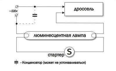 схема включения лампы дневного света