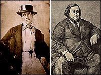 fotografías antiguas en sepia de un hombre alto y delgado y otro obeso