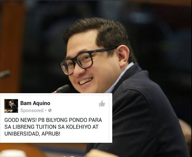 EPAL: Netizens Slams Bam Aquino for credit- grabbing on free tuition for State Universities and Colleges