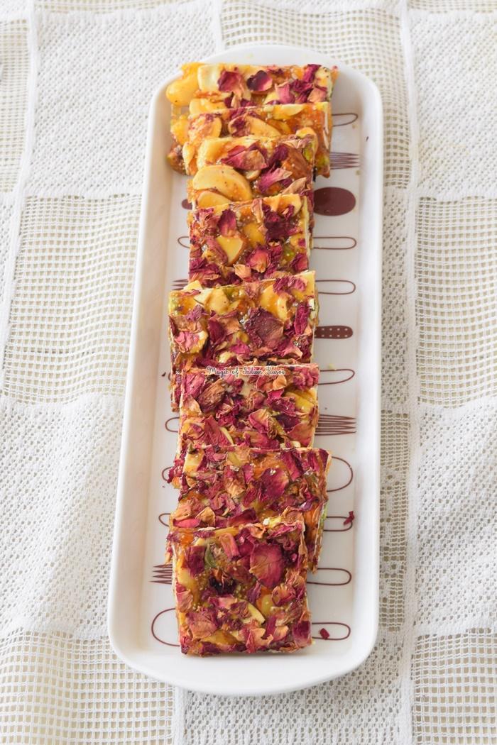 Rose & Dry Fruits Chikki Recipe - गुलाब और सूखे मेवे की चिक्की रेसिपी - Priya R - Magic of Indian Rasoi