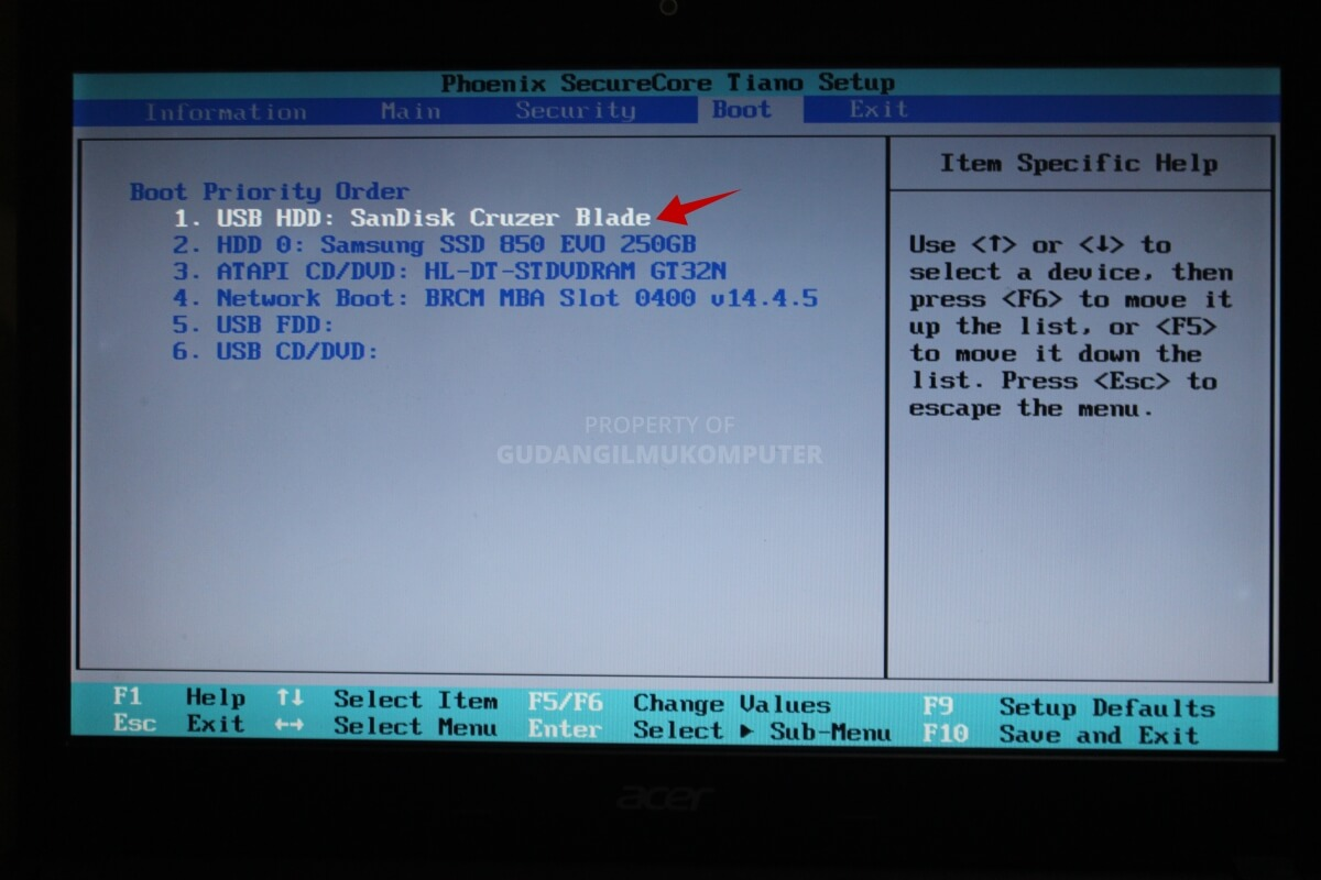 Cara setting BIOS untuk instal ulang