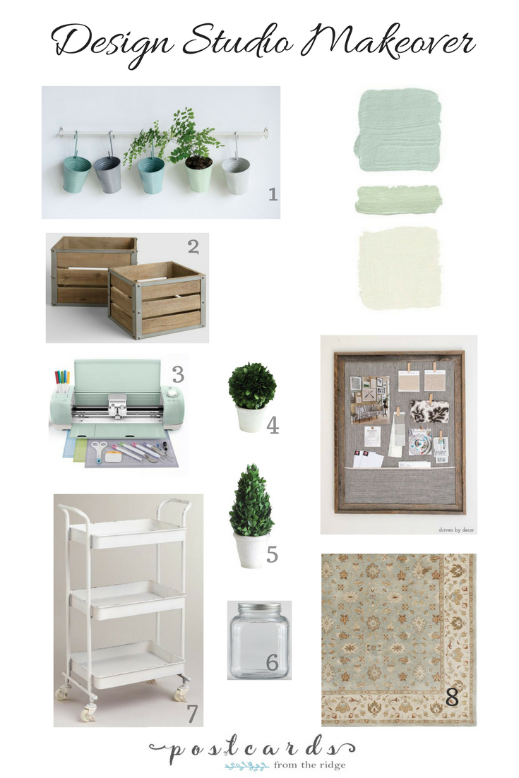 soft green and white art studio design plan