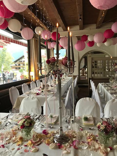 Hochzeit, , Riessersee Hotel, Garmisch-Partenkirchen, Bayern, Vintage, Rosen, Schleierkraut, Rosa, Pink, See und Berge
